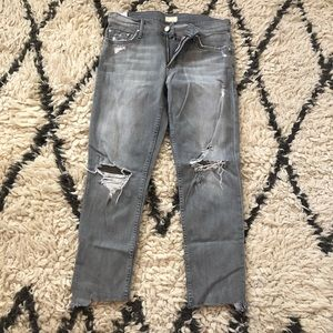 MOTHER cropped grey jeans